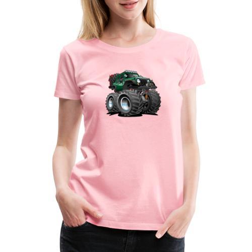 Off road 4x4 green jeeper cartoon - Women's Premium T-Shirt