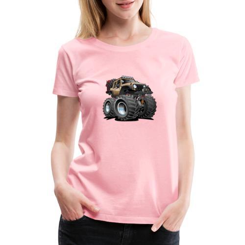 Off road 4x4 desert tan jeeper cartoon - Women's Premium T-Shirt