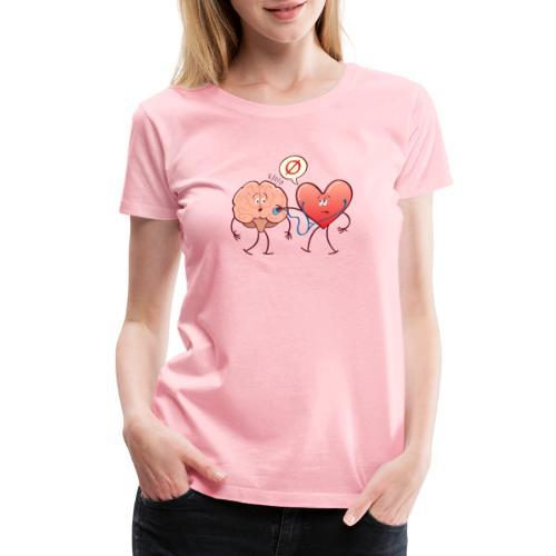 Heart examinating Brain with Stethoscope - Women's Premium T-Shirt