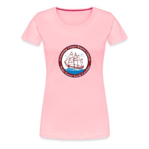 ship art burgundy blue 3 - Women's Premium T-Shirt