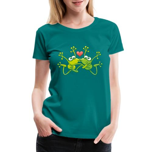 Frogs in love performing an acrobatic jumping kiss - Women's Premium T-Shirt
