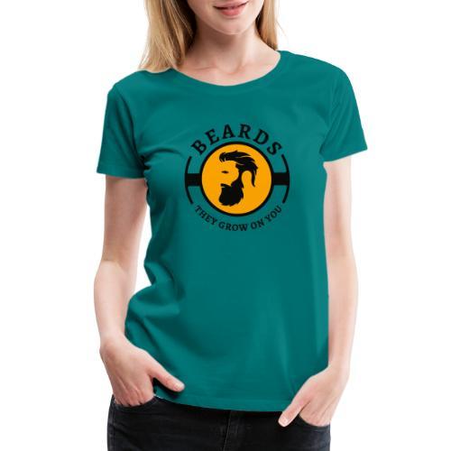 Beards, they grow on you | Minimal Orange Design - Women's Premium T-Shirt