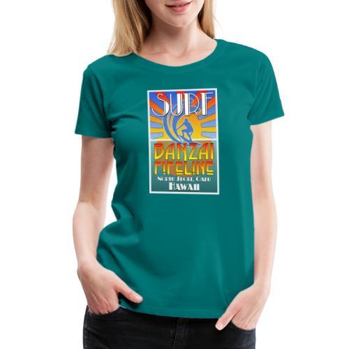 Banzai Pipeline, North Shore, Oahu, Art Deco Style - Women's Premium T-Shirt