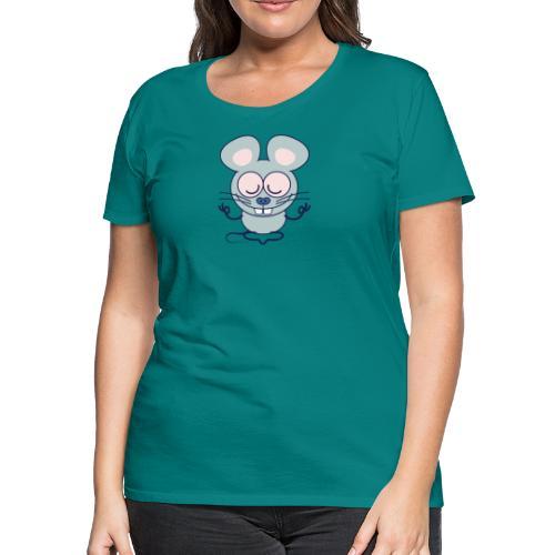 Gray mouse peacefully meditating in lotus pose - Women's Premium T-Shirt