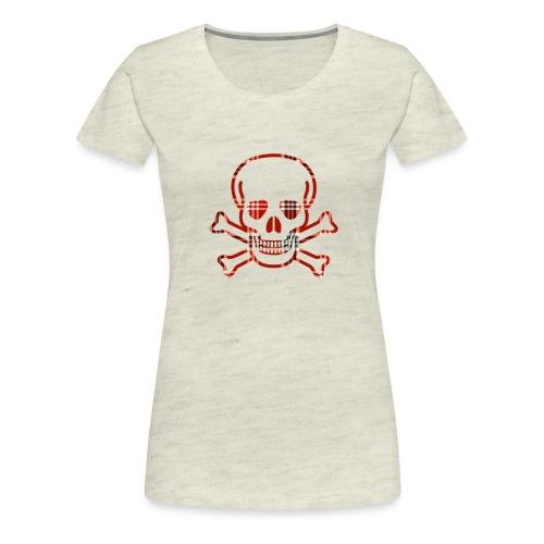 Skull & Cross Bones Red Plaid - Women's Premium T-Shirt
