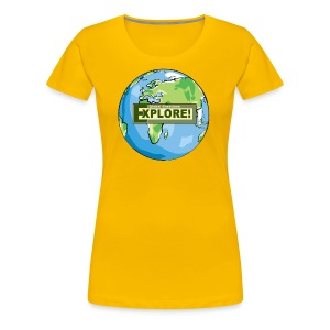 EXPLORE! Logo on the Earth - Women's Premium T-Shirt