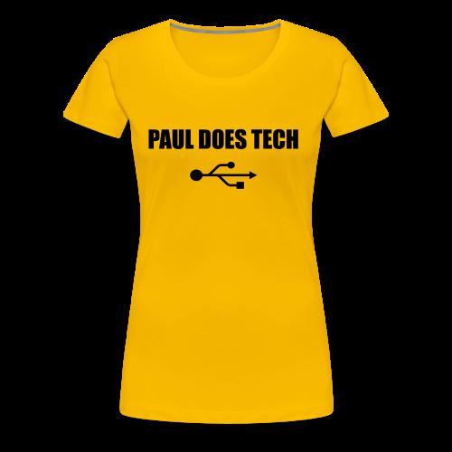 Paul Does Tech Logo Black with USB - Women's Premium T-Shirt