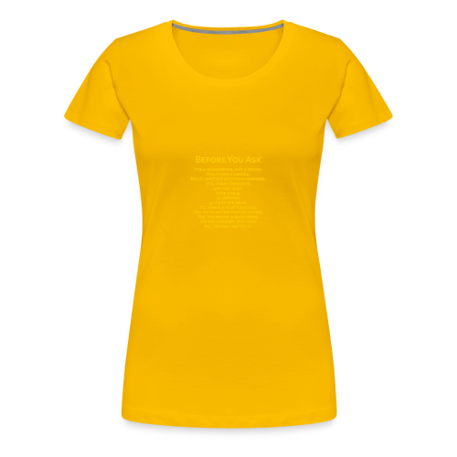 tshirt_pilotVersion_nologo_gold - Women's Premium T-Shirt