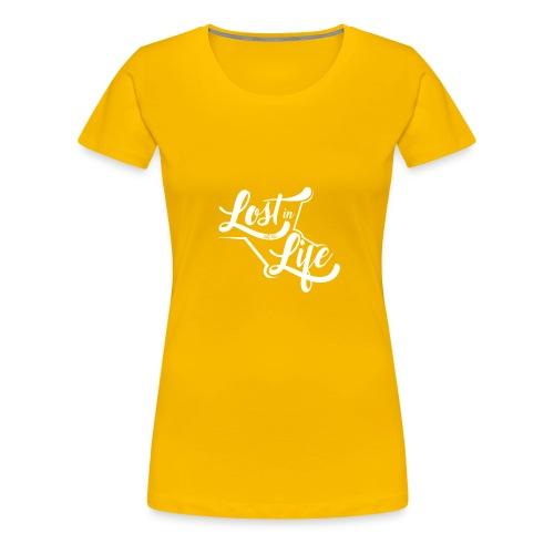 Lost in Life White on Dark logo small - Women's Premium T-Shirt