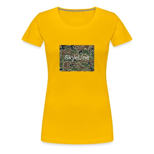 SkyeLine Green Camo and White Box Logo - Women's Premium T-Shirt