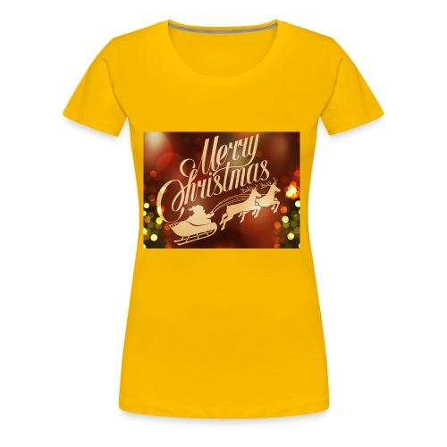 merry christmas 2015 carriage santa claus vector h - Women's Premium T-Shirt
