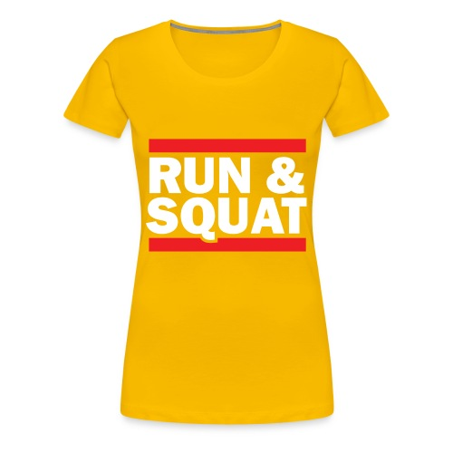 Run Squat White on Dark by Epic Greetings - Women's Premium T-Shirt
