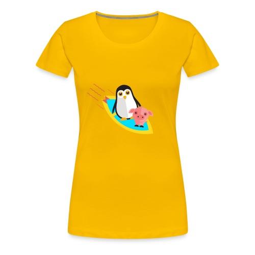 Surfing pinguin and pig - Women's Premium T-Shirt