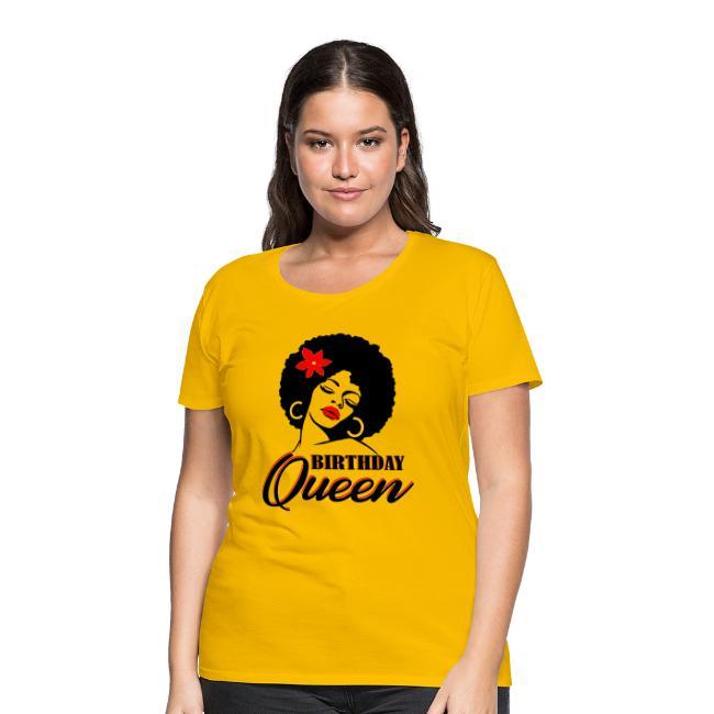 Afro Diva Red Flower Birthday Queen - Women's Premium T-Shirt | Natural Hair T-Shirt