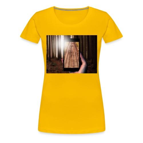Rail train in forest - Women's Premium T-Shirt