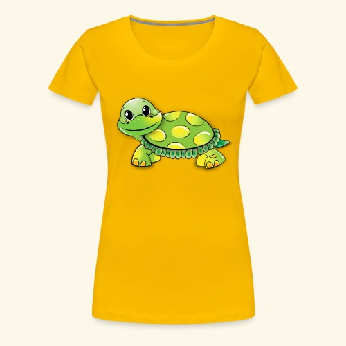 Green turtle cartoon - Women's Premium T-Shirt
