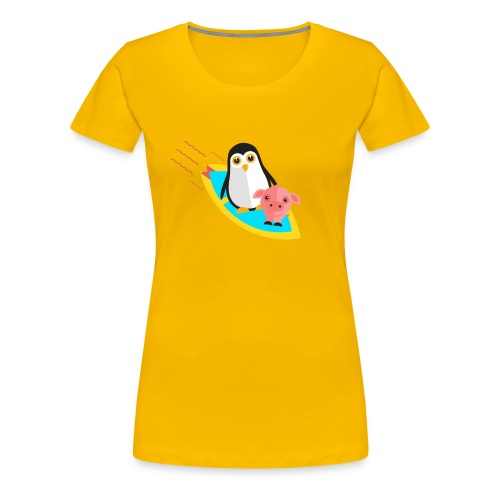 Surfing pinguin and pig - Women's Premium T-Shirt
