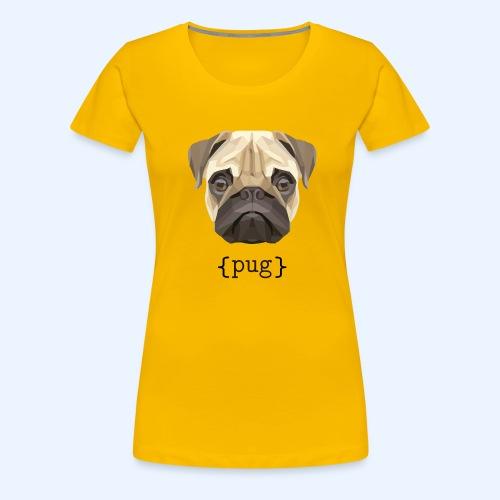 Cute Watercolor Pug Face Definition - Women's Premium T-Shirt