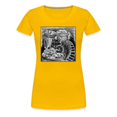 Raccoon Linocut - Women's Premium T-Shirt