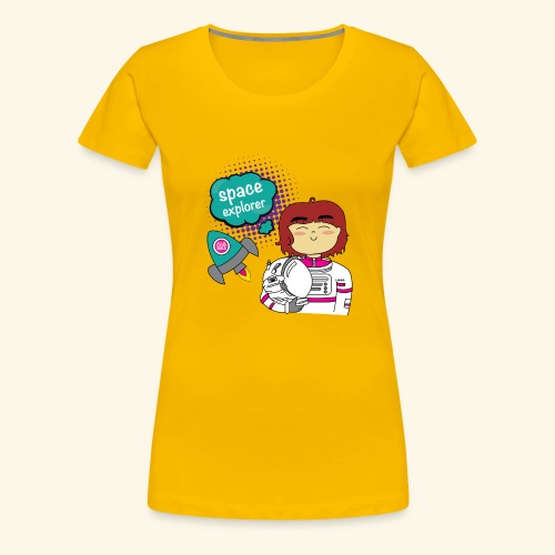Girl getting ready to explore the Universe - Women's Premium T-Shirt
