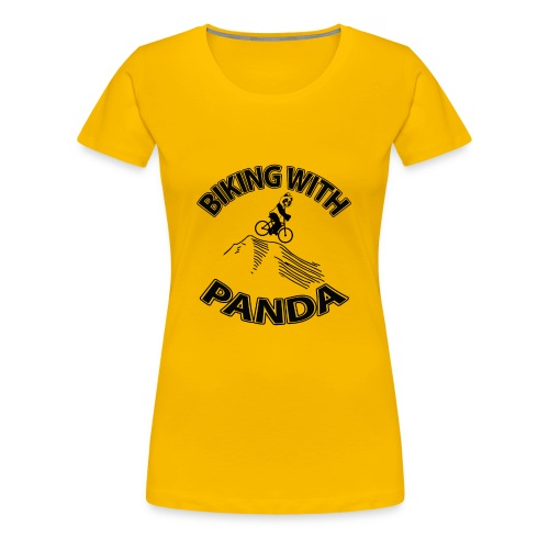 Biking with Panda - Women's Premium T-Shirt