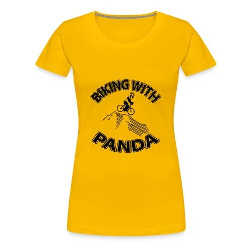Biking with Panda - Women's Premium T-Shirt