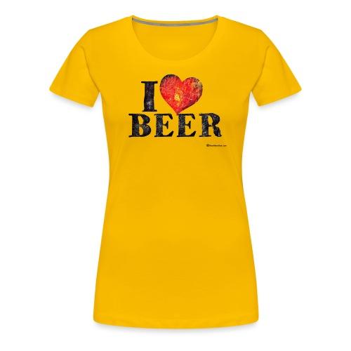 I Love Beer Distressed - Women's Premium T-Shirt
