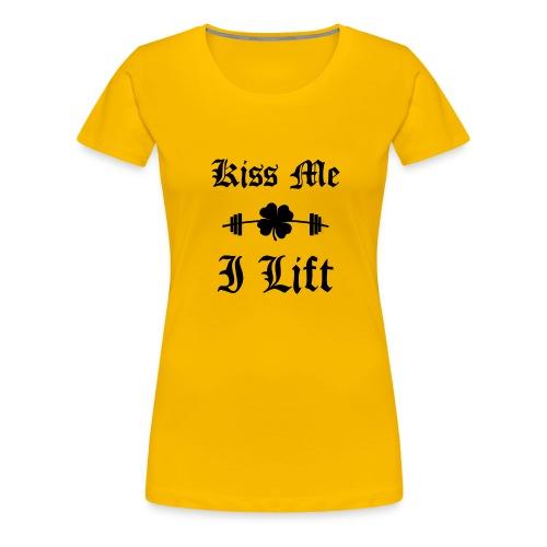 Kiss Me I Lift (old english, black) - Women's Premium T-Shirt