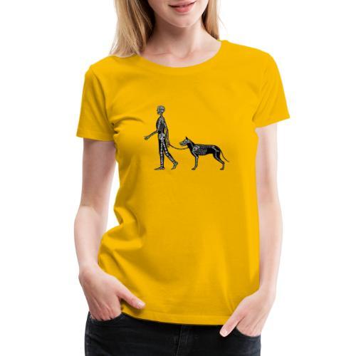 Skeleton Human and Dog - Women's Premium T-Shirt