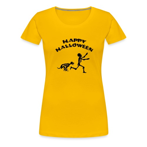 Halloween Boy and Dog - Women's Premium T-Shirt