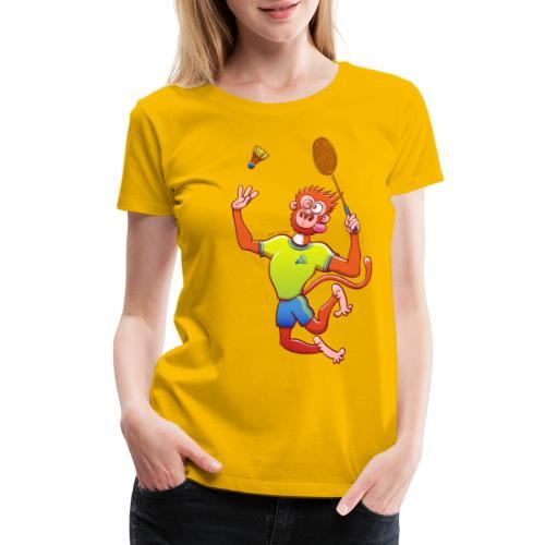 Red Monkey Playing Badminton - Women's Premium T-Shirt