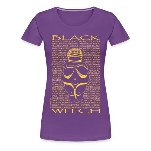 Black Witch Willa 1-yellow print - Women's Premium T-Shirt