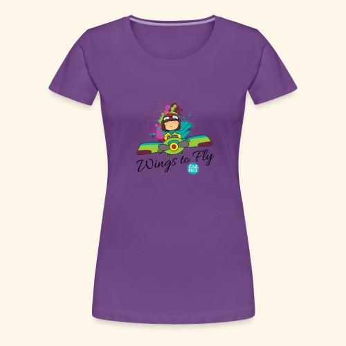 Girl aviator flying an old plane - Women's Premium T-Shirt