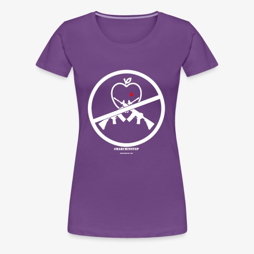 March In Step White Floating Logo - Women's Premium T-Shirt