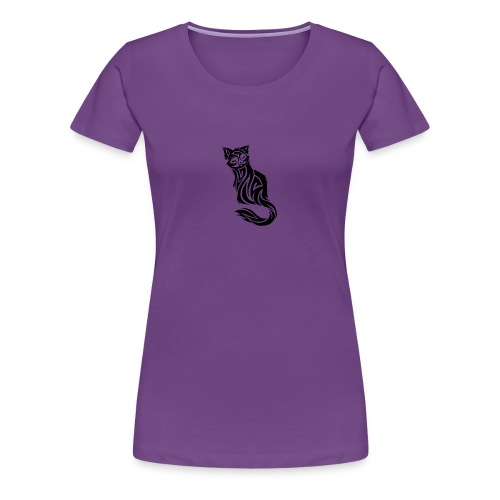 elegant-cat-with-bird-tattoo-design-5 - Women's Premium T-Shirt