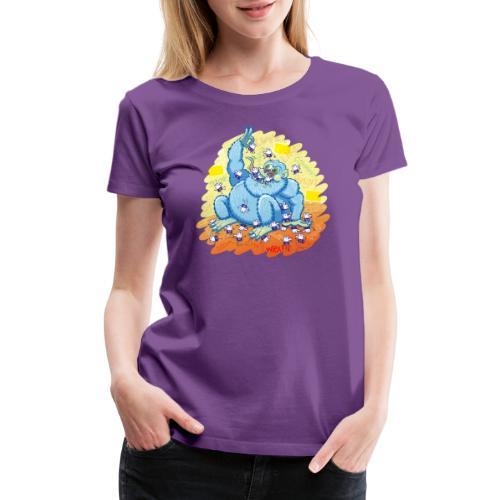 Voracious social networks' monster gobbling likes - Women's Premium T-Shirt