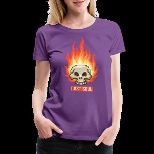 Burning Skull Lost Soul | Pixel Art - Women's Premium T-Shirt