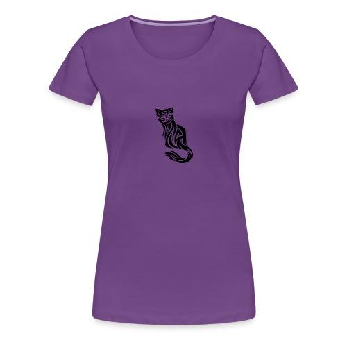 elegant-cat-with-bird-tattoo-design-5 - Women's Premium T-Shirt