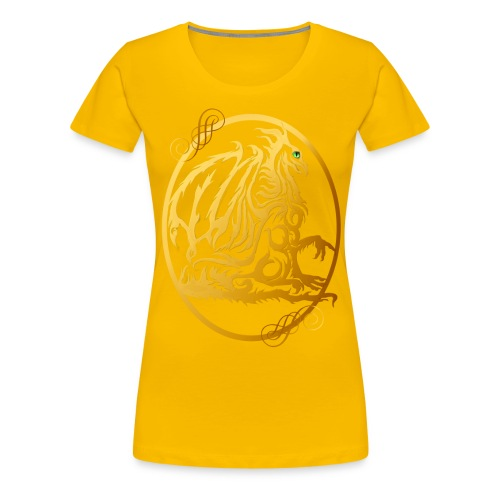 Gold Dragon Oval Design - Women's Premium T-Shirt