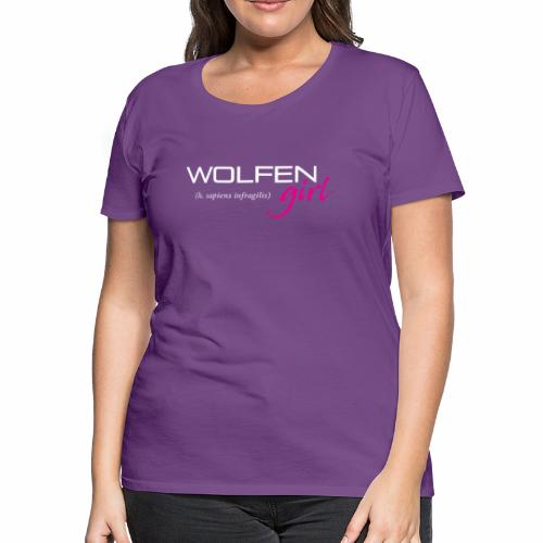 Front/Back: Wolfen Girl on Dark - Adapt or Die - Women's Premium T-Shirt