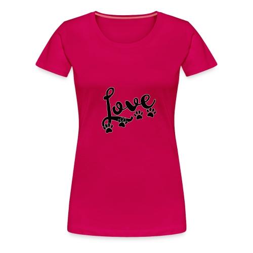 love typography with 4 dog paw prints - Women's Premium T-Shirt