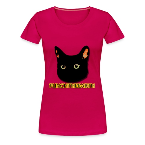 PunchTheEarth Cat with Text - Women's Premium T-Shirt