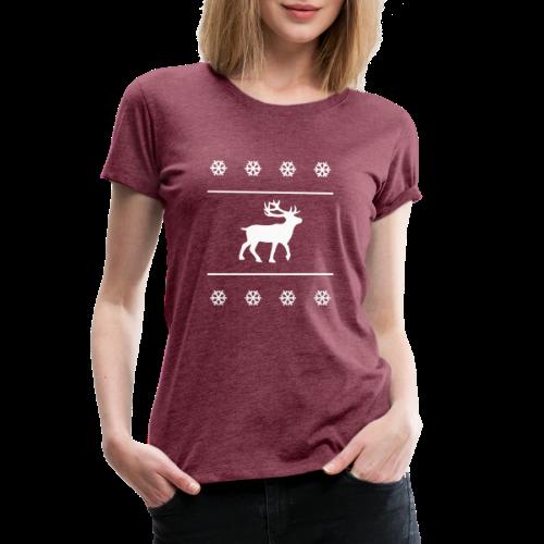 Reindeer with snowflakes - Women's Premium T-Shirt