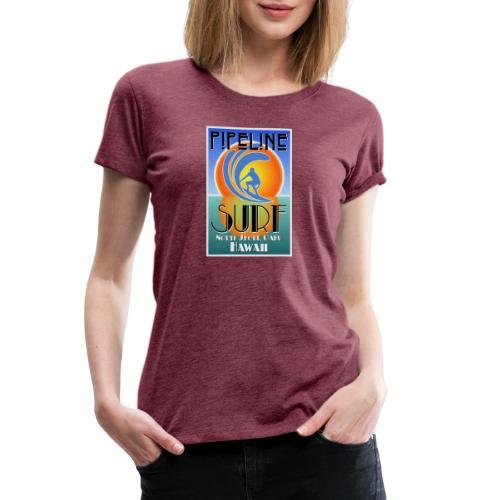 Pipeline, North Shore, Oahu, Art Deco Style - Women's Premium T-Shirt