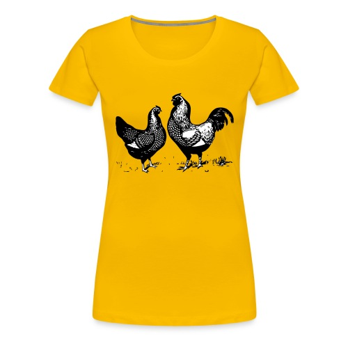 Vintage Rooster and Hen - farm style - Women's Premium T-Shirt