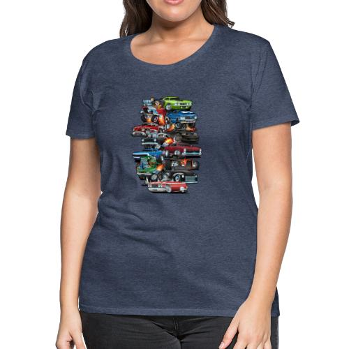 Car Madness! Muscle Cars and Hot Rods Cartoon - Women's Premium T-Shirt