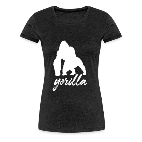 Gorilla Logo, White W/ Text - Women's Premium T-Shirt