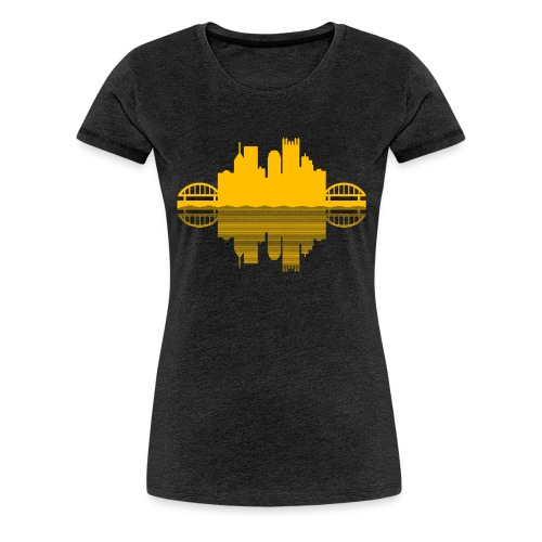 Pittsburgh Skyline Reflection (Gold) - Women's Premium T-Shirt