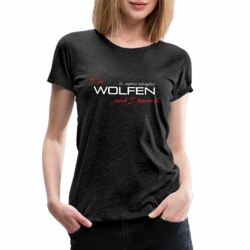 Front/Back: Wolfen Atitude on Dark - Adapt or Die - Women's Premium T-Shirt