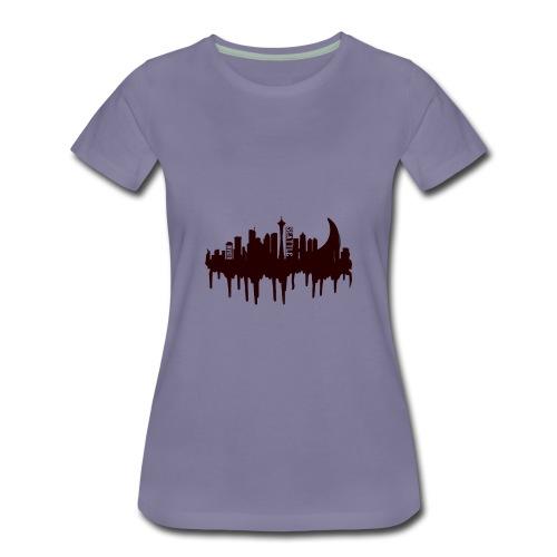 Seattle Moon and Skyline - Women's Premium T-Shirt